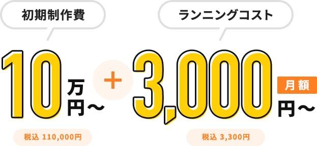 初期製作費 10万円 + ランニングコスト 3,000円